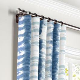 Aqua Blue Shibori Stripe Curtains with Pocket Close Up