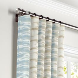 Blue & Tan Shibori Stripe Curtains with Pocket Close Up