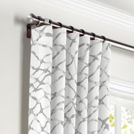Gray & White Net Curtains with Pocket Close Up
