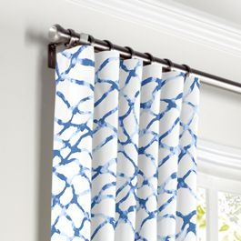 Blue & White Net Curtains with Pocket Close Up