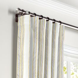 Embroidered Yellow Stripe Curtains with Pocket Close Up