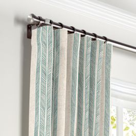Embroidered Aqua Stripe Curtains with Pocket Close Up