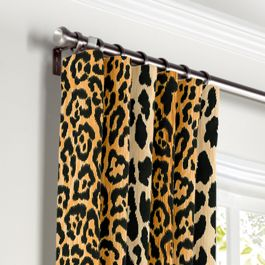 Velvet Leopard Print Curtains with Pocket Close Up