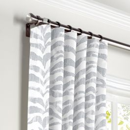 Light Gray Zebra Print Curtains with Pocket Close Up