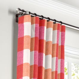 Pink & Orange Buffalo Check Curtains with Pocket Close Up