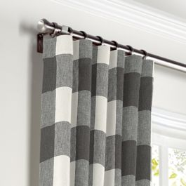 Gray & White Buffalo Check Curtains with Pocket Close Up