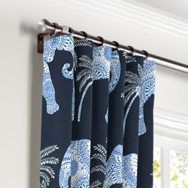 Navy Blue Elephant Curtains with Pocket Close Up