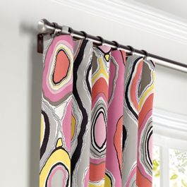 Hot Pink & Orange Abstract Curtains with Pocket Close Up