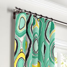 Lime Green & Yellow Abstract Curtains with Pocket Close Up