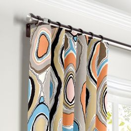 Orange & Light Pink Abstract Curtains with Pocket Close Up