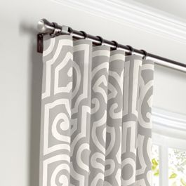 Modern Gray Trellis Curtains with Pocket Close Up