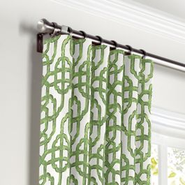 Green Watercolor Trellis Curtains with Pocket Close Up