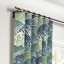 Green Hillside Floral Curtains with Pocket Close Up