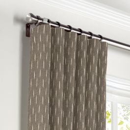 Tan & Black Dashes Curtains with Pocket Close Up