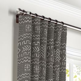Charcoal Woven Tribal Curtains with Pocket Close Up