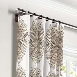 White & Tan Spiky Oval Curtains with Pocket Close Up