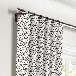 Black & White Mudcloth Curtains with Pocket Close Up