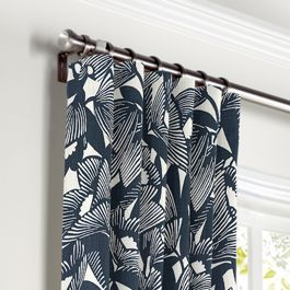 Modern Navy Blue Floral Curtains with Pocket Close Up