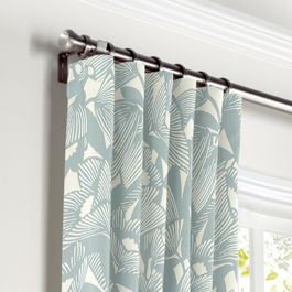 Modern Light Blue Floral Curtains with Pocket Close Up
