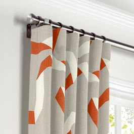 Orange Red Ribbon Curtains with Pocket Close Up