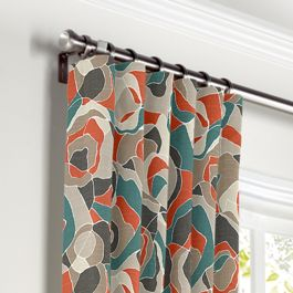 Red Orange Abstract Curtains with Pocket Close Up