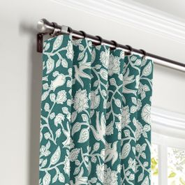 Blue Floral & Bird Curtains with Pocket Close Up