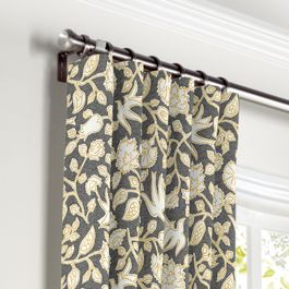 Dark Gray Floral & Bird Curtains with Pocket Close Up
