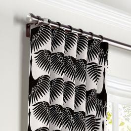 Flocked Black & White Bird Curtains with Pocket Close Up
