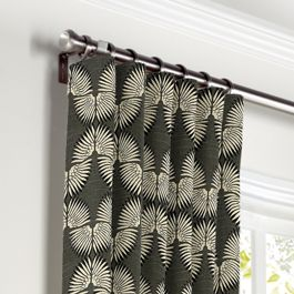 Dark Gray & White Fan Curtains with Pocket Close Up