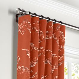 Burnt Orange Cloud Curtains with Pocket Close Up