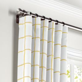 Lemon Yellow Check Curtains with Pocket Close Up