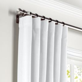 Traditional White Linen Curtains with Pocket Close Up