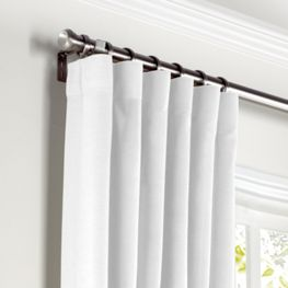 Bright White Linen Curtains with Pocket Close Up