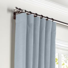 Blue-Gray Linen Curtains with Pocket Close Up