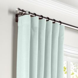 Pale Green Linen Curtains with Pocket Close Up