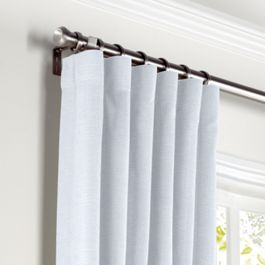 Pale Aqua Linen Curtains with Pocket Close Up