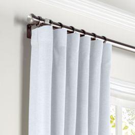 Pale Aqua Linen Curtains with Pocket Close Up