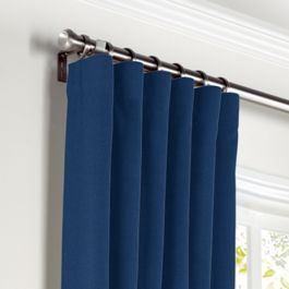 Dark Navy Blue Linen Curtains with Pocket Close Up