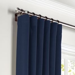 Dark Indigo Blue Linen Curtains with Pocket Close Up