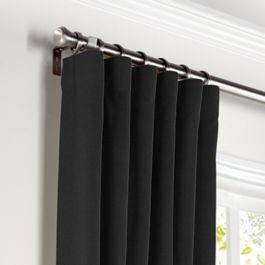 Carbon Black Linen Curtains with Pocket Close Up