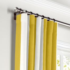 Yellow Awning Stripe Curtains with Pocket Close Up