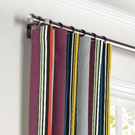 Purple Multicolor Striped Curtains with Pocket Close Up