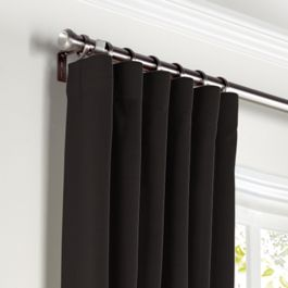 Black Sunbrella® Canvas Curtains with Pocket Close Up