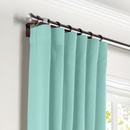 Bright Aqua Sunbrella® Canvas Curtains with Pocket Close Up