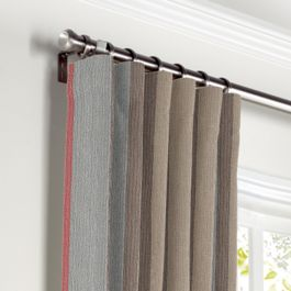 Red Blue Tan Stripe Curtains with Pocket Close Up