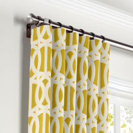 Bright Yellow Trellis Curtains with Pocket Close Up