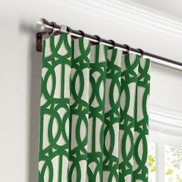 Emerald Green Trellis Curtains with Pocket Close Up