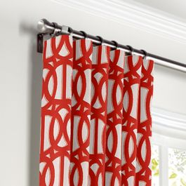 Coral Red Trellis Curtains with Pocket Close Up
