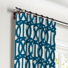 Bright Blue Trellis Curtains with Pocket Close Up