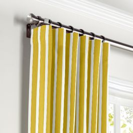 Bright Yellow Thin Stripe Curtains with Pocket Close Up